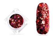 Jolifin Hexagon Glittermix - hologramm red