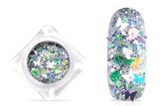 Jolifin Nightshine Butterfly Glitter - silver white