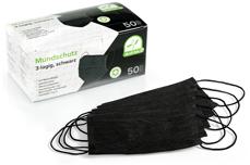 Mundschutz 50 Stück schwarz latexfrei