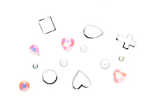 Jolifin XL Strass-Display - silver & pastell-pink mix