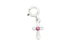 Jolifin Nagel-Piercing Kreuz mit Strassstein rosa