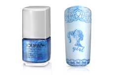 Jolifin Stamping-Lack - glitzer blue 12ml