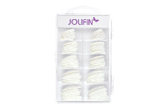 Jolifin 100er Tipbox Glitter-Tips white