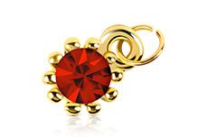 Jolifin Nagel-Piercing Gold mit rotem Stein