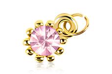 Jolifin Nagel-Piercing Gold mit rosa Stein