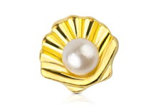 Jolifin Overlay Muschel mit Perle gold