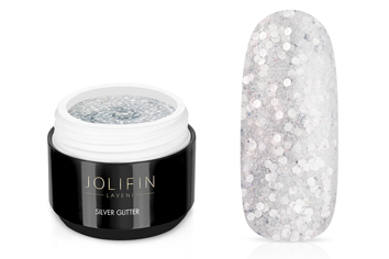 Jolifin LAVENI Farbgel - silver Glitter 5ml