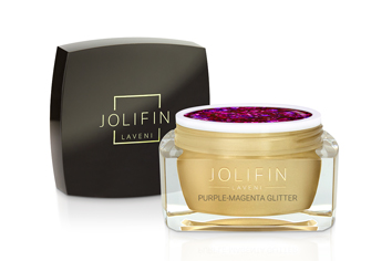 Jolifin LAVENI Farbgel - purple-magenta Glitter 5ml