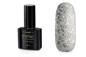 Jolifin LAVENI Shellac - silver sparkle 12ml