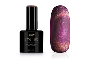 Jolifin LAVENI Shellac - Cat-Eye FlipFlop pink & gold 12ml