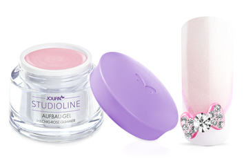 Jolifin Studioline - Aufbau-Gel milchig rosé Glimmer 30ml