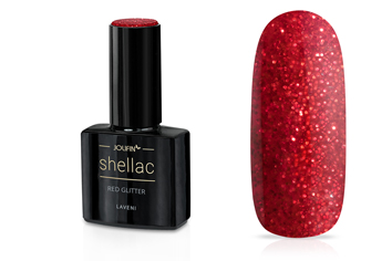 Jolifin LAVENI Shellac - red Glitter 12ml