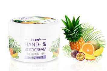 Jolifin Hand- & Bodycream mit Sheabutter - exotic fruits 275ml