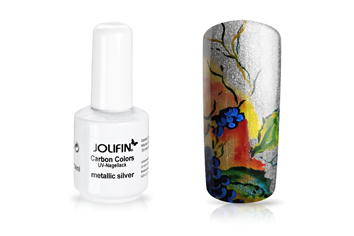 Jolifin Carbon Colors UV-Nagellack metallic silver 11ml