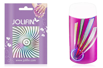 Jolifin Fancy Nail Sticker silver rainbow 2