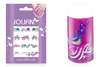 Jolifin Fancy Nail Sticker silver rainbow 5