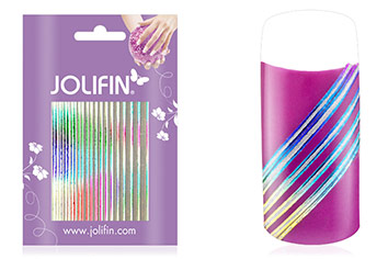 Jolifin Fancy Nail Sticker silver rainbow 7