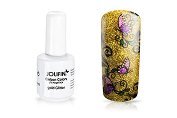 Jolifin Carbon Quick-Farbgel - gold Glitter 11ml