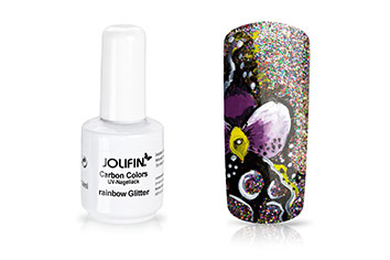 Jolifin Carbon Colors UV-Nagellack rainbow Glitter 14ml