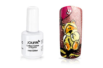Jolifin Carbon Quick-Farbgel - rosé Glitter 11ml
