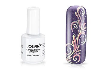 Jolifin Carbon Quick-Farbgel - plum Glimmer 11ml