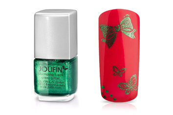 Jolifin Stamping-Lack - green glitter 12ml