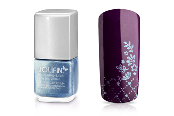 Jolifin Stamping-Lack - jeans Glitter 12ml