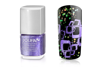 Jolifin Stamping-Lack - purple Glitter 12ml
