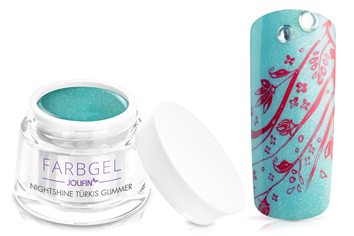 Jolifin Farbgel Nightshine türkis Glimmer 5ml
