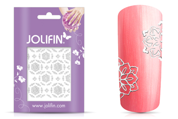 Jolifin Ornament Nail-Sticker Silver 7