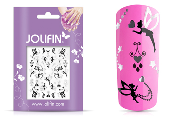 Jolifin Silver-Black Nailart Sticker 2