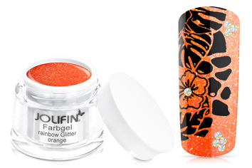 Jolifin Farbgel rainbow Glitter orange 5ml