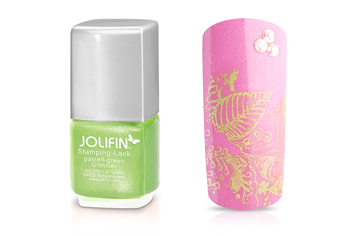 Jolifin Stamping-Lack pastell-green Glimmer 12ml