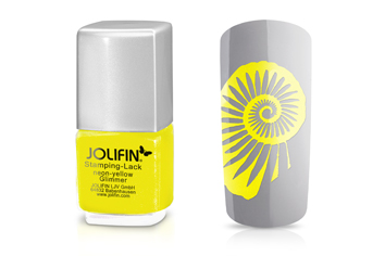 Jolifin Stamping-Lack - neon-yellow Glimmer 12ml