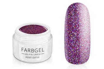 Jolifin LAVENI Farbgel - violet Glitter 5ml